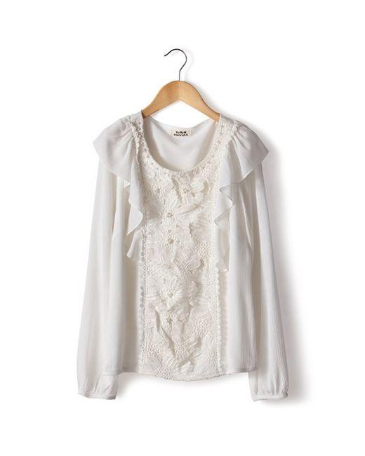 Molly Bracken   Женская Белая Блузка С Вышитой Манишкой 100 Хлопка