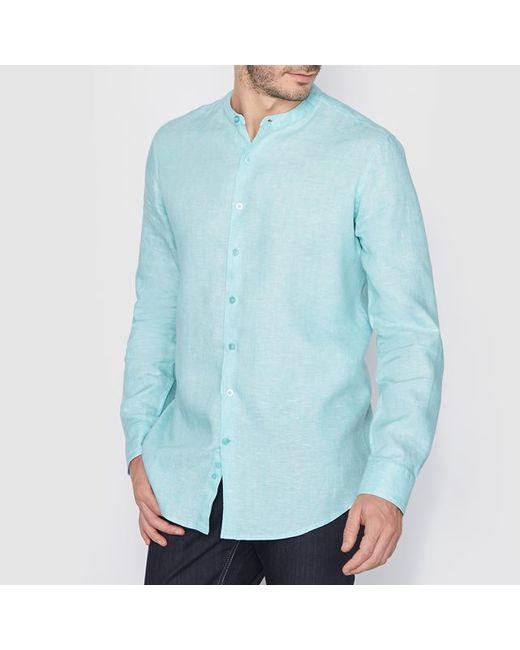 R essentiel | Мужская Синяя Рубашка Из Льна Стандартного Покроя С Воротником-Стойкой.