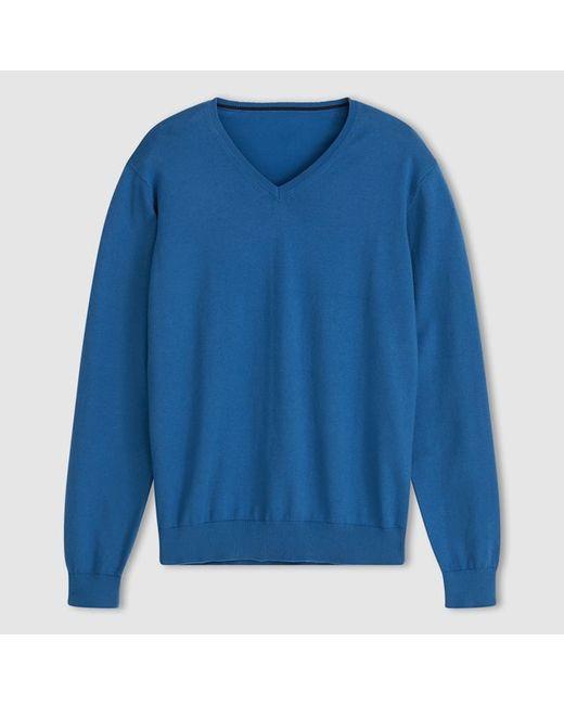 R essentiel   Мужской Синий Пуловер С V-Образным Вырезом 80 Хлопка