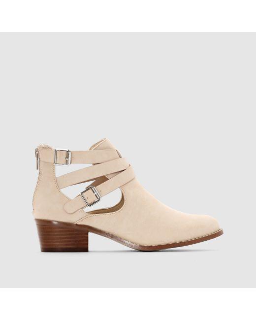 Мини-цена | Женские Бежевые Ботинки С Ремешками