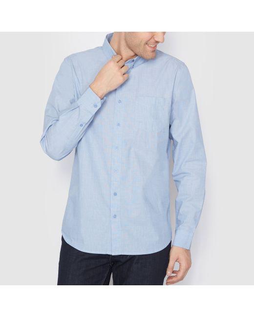 R essentiel | Мужская Синяя Рубашка Прямого Покроя С Длинными Рукавами На