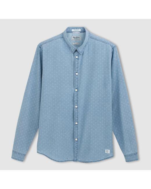 Pepe Jeans London | Мужская Светлый Индиго Рубашка С Длинными Рукавами Caufield