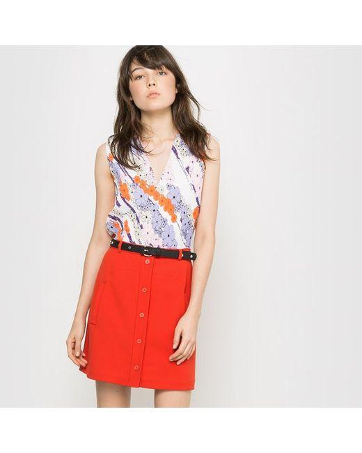 CARVEN POUR LA REDOUTE   Женская Цветочная Блузка Без Рукавов С Плиссировкой