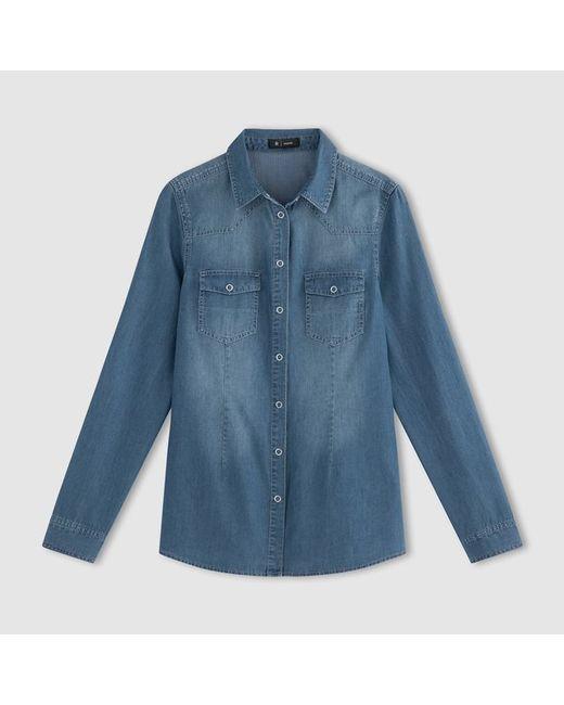 R essentiel   Женская Синяя Рубашка Из Денима С Длинными Рукавами