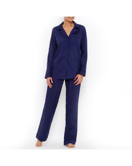 LOUISE MARNAY | Женская Синяя Пижама С Вышивкой Гладью