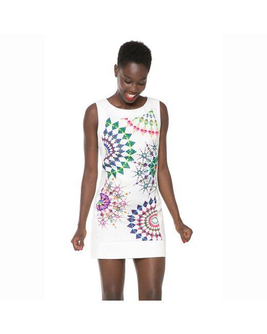 Desigual | Женское Белое Платье Без Рукавов Облегающий Покрой С Принтом