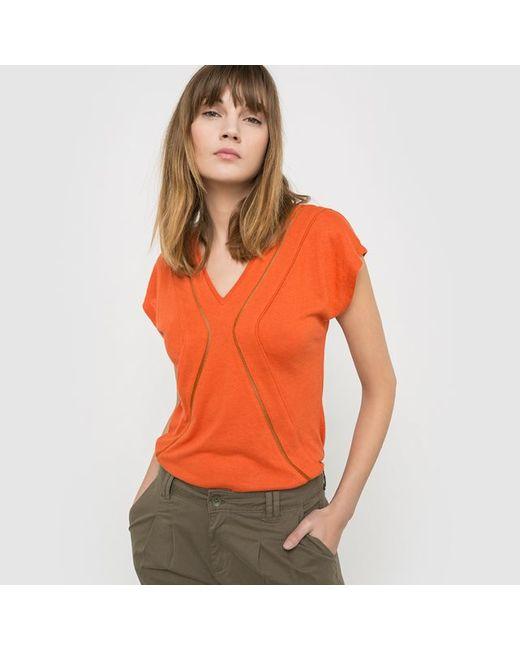 SOFT GREY   Женская Оранжевая Футболка С Короткими Рукавами 100 Льна