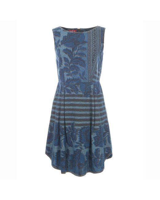 Rene Derhy | Женское Синее Платье Без Рукавов Из Денима С Рисунком