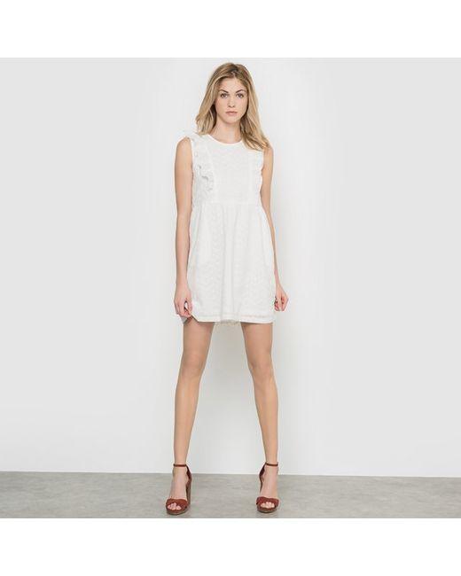 Compania Fantastica | Женское Белое Платье Без Рукавов С Воланами Mallorca Off