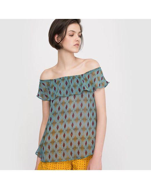 Мини-цена | Женская Набивной Рисунка Блузка С Рисунком Открытые Плечи
