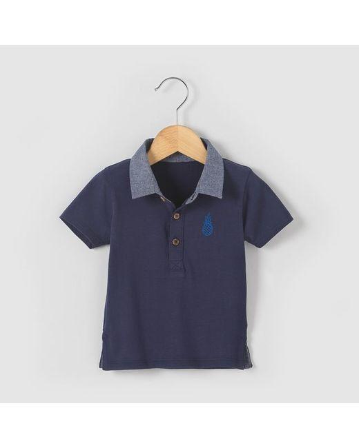 R essentiel | Синяя Футболка-Поло Из Двух Материалов Для От 1