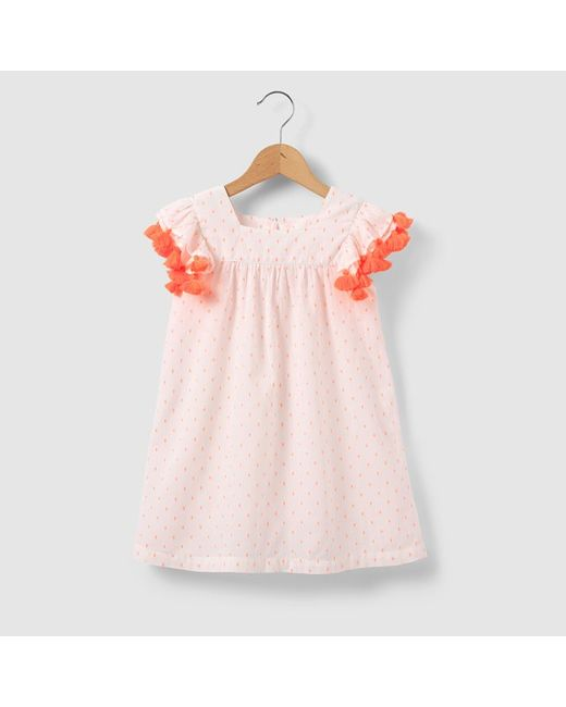 R kids | Розовая Блузка С Короткими Рукавами Украшенными Помпонами Для
