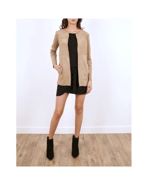 LENNY B | Женское Коричневое Пальто Без Воротника