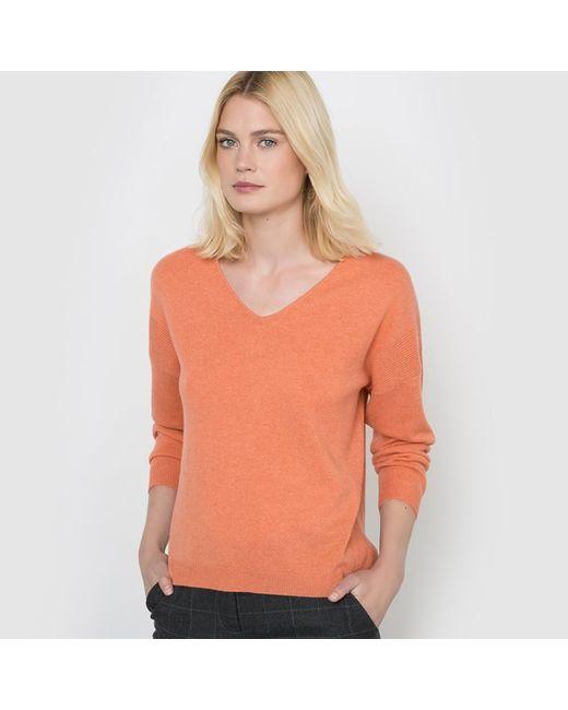 R studio   Женский Оранжевый Пуловер С V-Образным Вырезом 100 Кашемира
