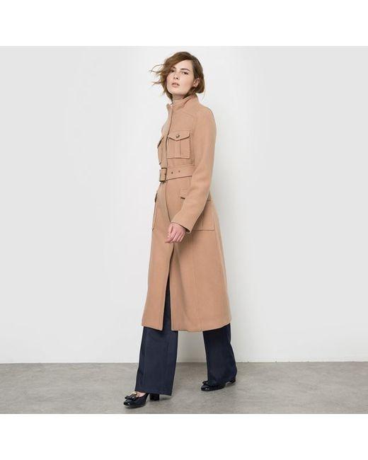 atelier R | Женское Бежевое Пальто В Стиле Милитари
