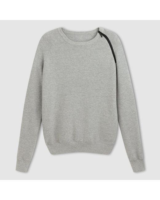 R essentiel | Мужской Синий Пуловер С Круглым Вырезом И Длинными Рукавами