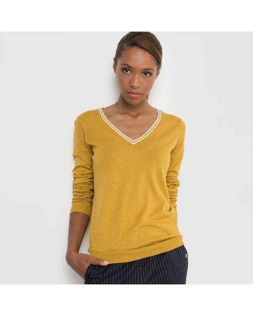 R essentiel | Женский Чёрный Пуловер 100 Хлопка С V-Образным Вырезом