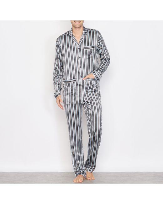 R essentiel | Мужская Синяя Пижама Из Атласа В Полоску С Длинными