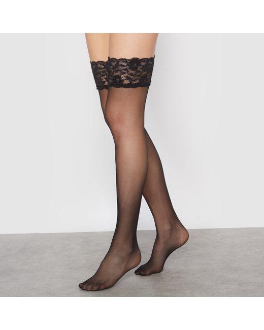 R essentiel | Женские Чёрные Чулки Из Вуали С Кружевными Подвязками Комплект