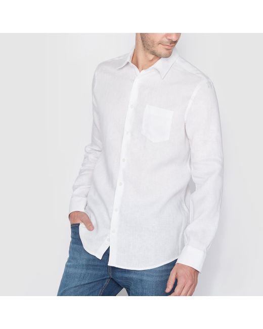 R essentiel | Мужская Синяя Рубашка Из Льна. Длинные Рукава