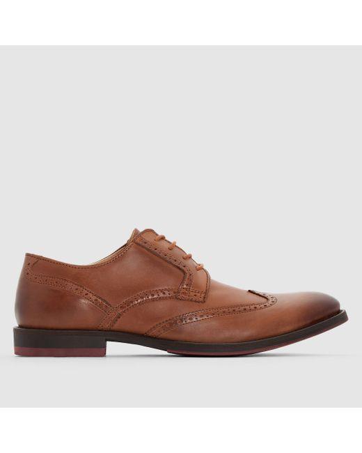 R essentiel   Мужские Бежевые Ботинки-Дерби Кожаные
