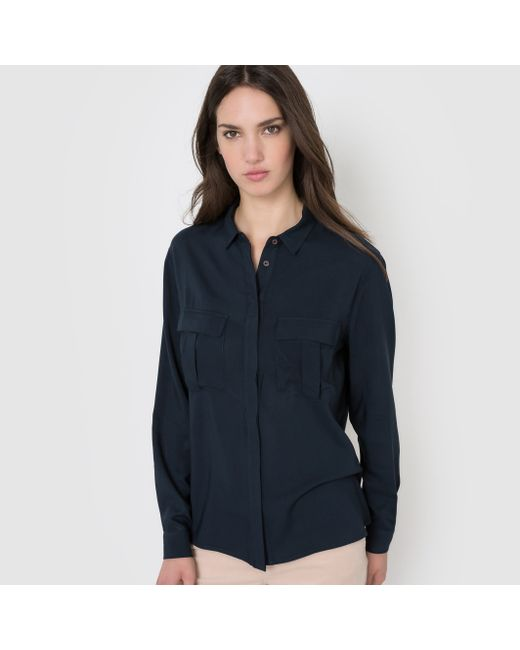 R essentiel | Женская Синяя Рубашка С Карманами