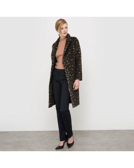 atelier R | Женское Набивной Рисунок Пальто С Леопардовым Принтом 35 Шерсти