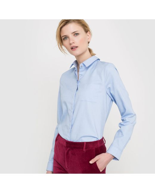 atelier R | Женская Голуба Рубашка Прямого Покроя Из Ткани Оксфорд Качество