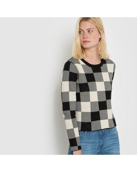 R essentiel | Женский Чёрный Пуловер Короткий В Клетку