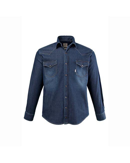 JP1880   Мужская Выбеленная Рубашка Из Денима С Длинными Рукавами