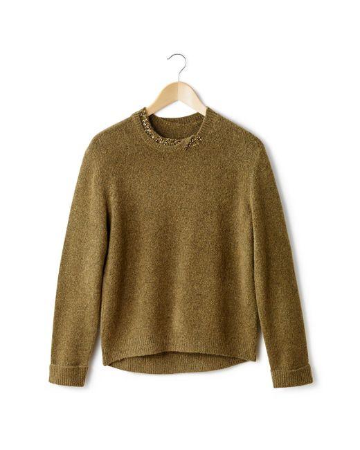SOFT GREY   Женский Слоновая Костящий Пуловер С Украшением На Вырезе