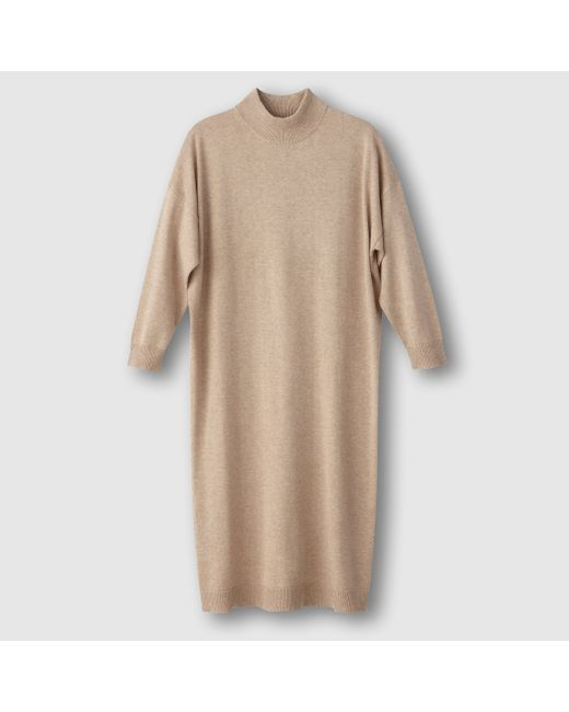 R essentiel | Женское Синее Платье-Пуловер С Высоким Воротником