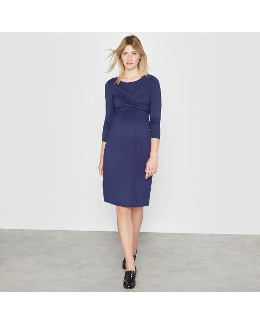 R essentiel | Женское Синее Платье С Длинными Рукавами Для Будущих Мам