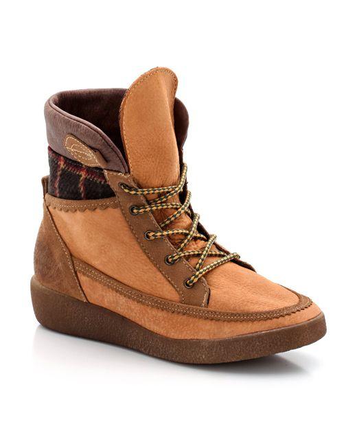 Coolway | Женские Медовые Ботинки Кожаные На Шнуровке