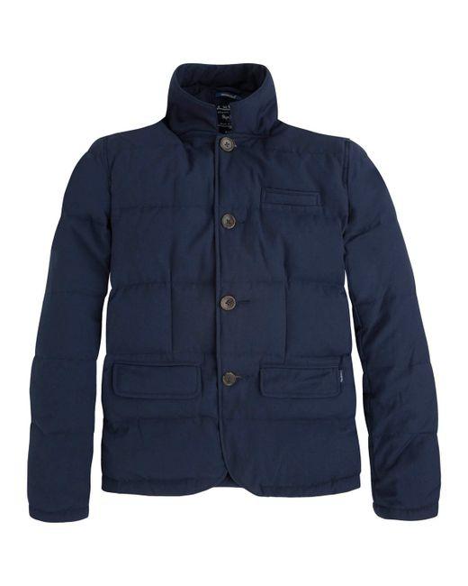 Pepe Jeans London   Мужская Синяя Стеганая Куртка Mardem Из Льна И Хлопка