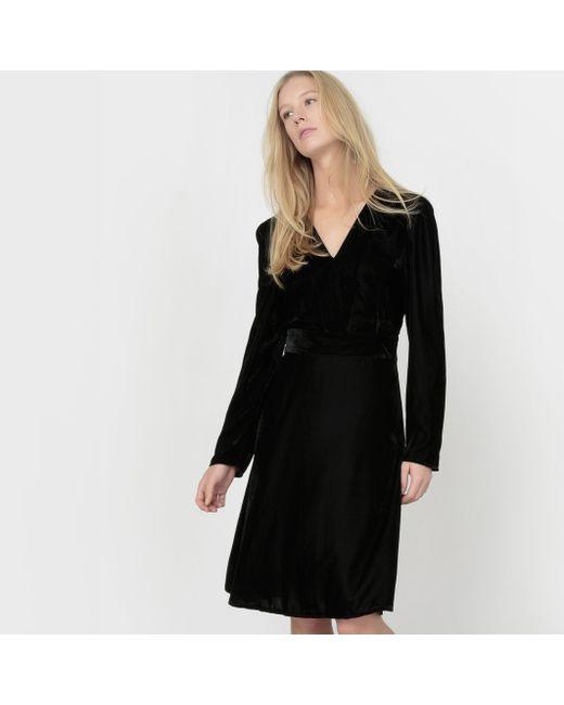 atelier R | Женское Чёрное Платье Из Велюра С V-Образным Вырезом