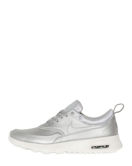 Nike | Женские Серебряные Кожаные Кроссовки Air Max Thea