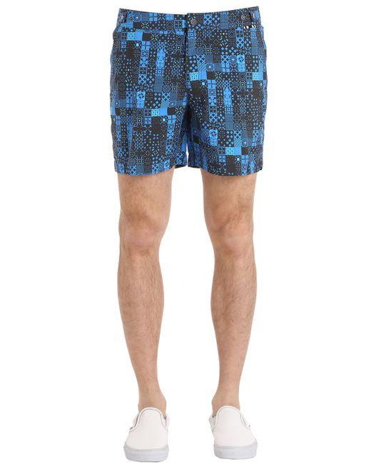 DANWARD | Мужские Синие Плавательные Шорты Из Нейлона С Принтом