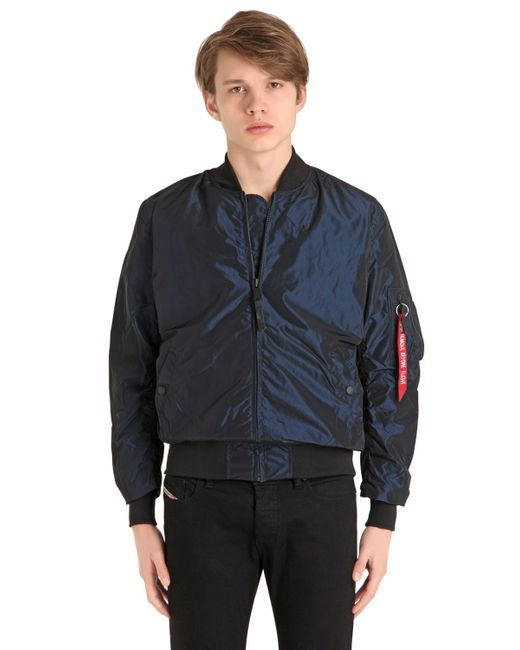 Alpha Industries | Мужская Синяя Шёлковая Куртка-Бомбер Ma-1 Lw Iridium