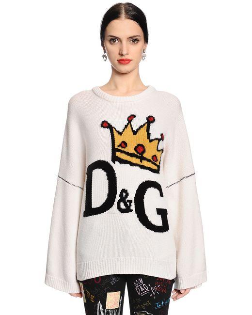 Dolce & Gabbana | Женский Белый Шерстяной Свитер С Интарзийным Узором-Логотипом