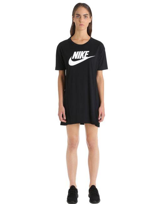 Nike | Женская Чёрная Футболка-Платье Essential С Принтом