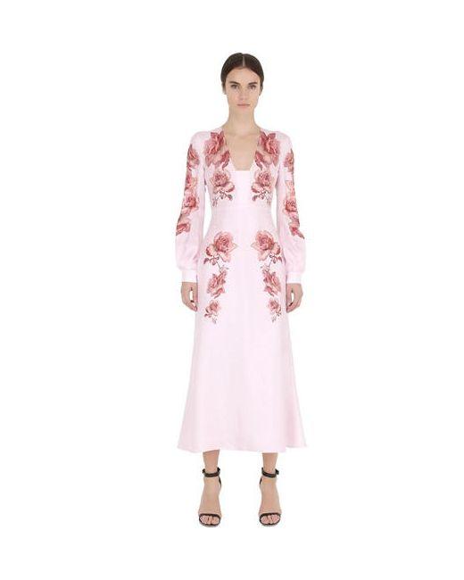 Francesco Scognamiglio   Женское Платье Из Шёлковой Саржи С Вышивкой