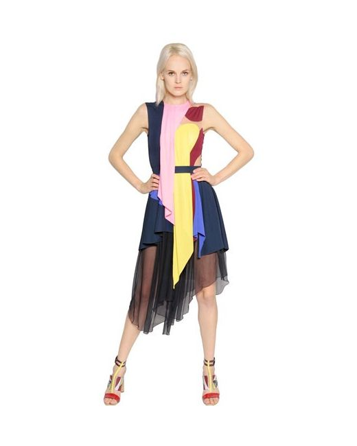 Peter Pilotto | Женское Платье Из Джерси И Шифона