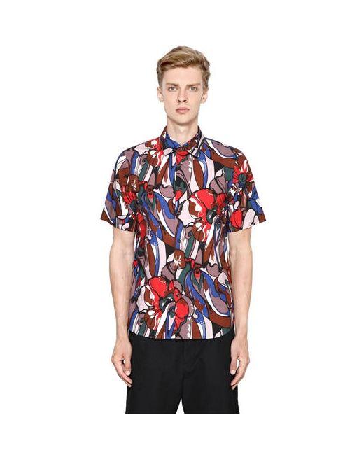 Marni   Мужская Рубашка Из Хлопкового Поплин С Цветочным Принтом