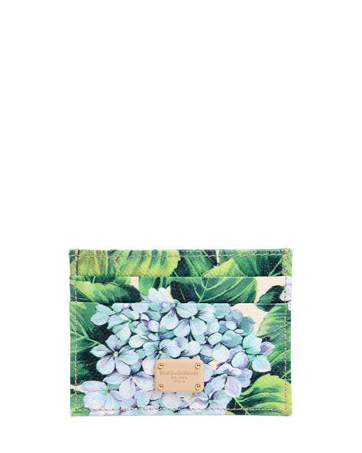 Dolce & Gabbana | Женская Зелёная Кожаная Кредитница С Принтом Цветов Гортензии