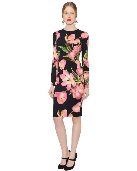Dolce & Gabbana | Женское Платье Из Вискозного Стретч Кади С Принтом
