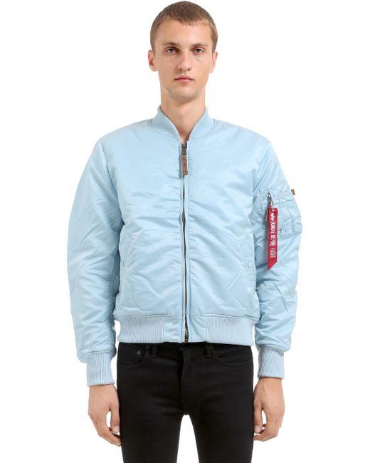 Alpha Industries   Мужская Голуба Нейлоновая Куртка-Бомбер Ma-1