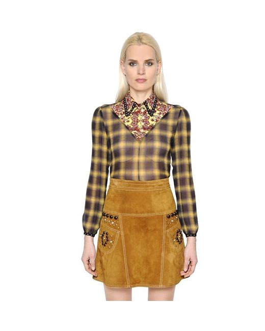 COACH | Женское Женщины Plaid Silk Chiffon Shirt