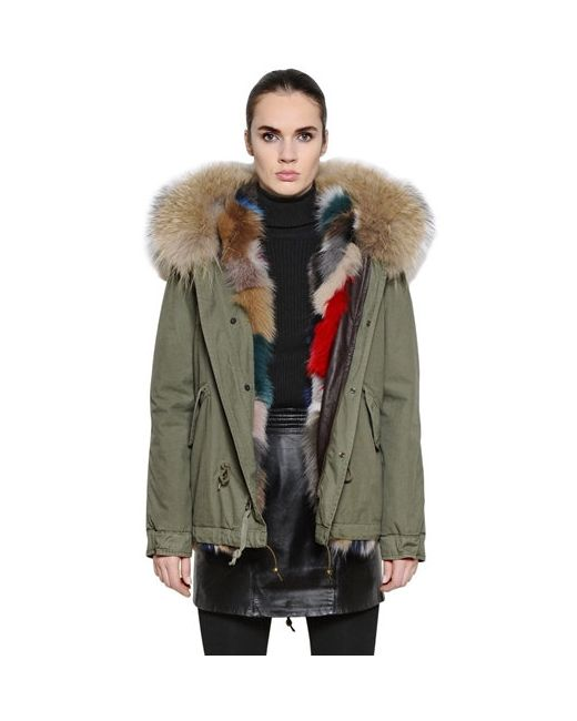 MR & MRS Italy   Зелёный Cotton Canvas Jacket With Fox Fur