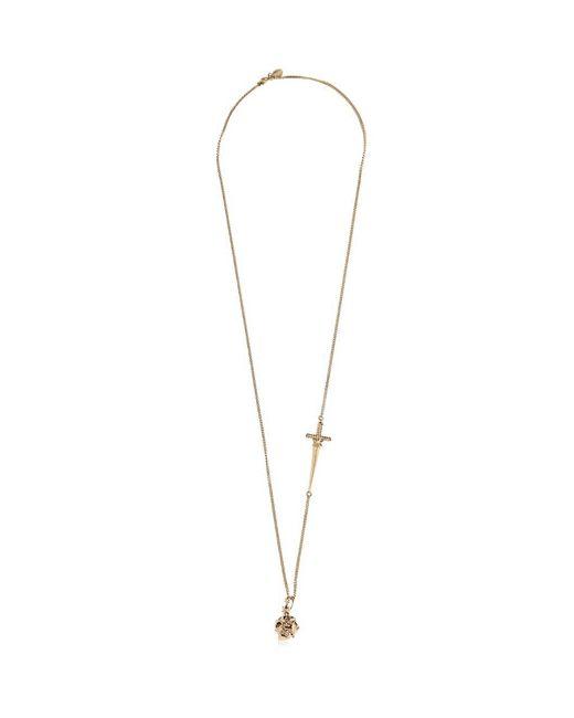 Alexander McQueen | Золотой Star Dust Skull Swarovski Brass Necklace